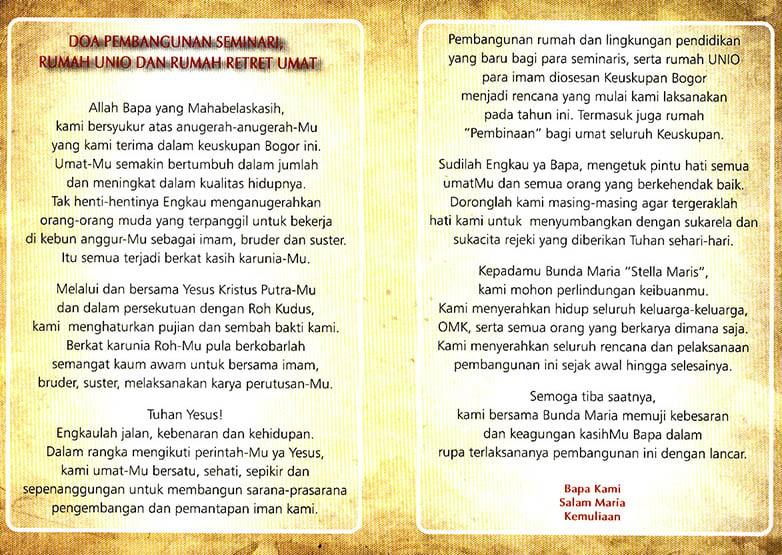 Doa Pembangunan Seminari, Rumah UNIO dan Rumah Retret Keuskupan Bogor